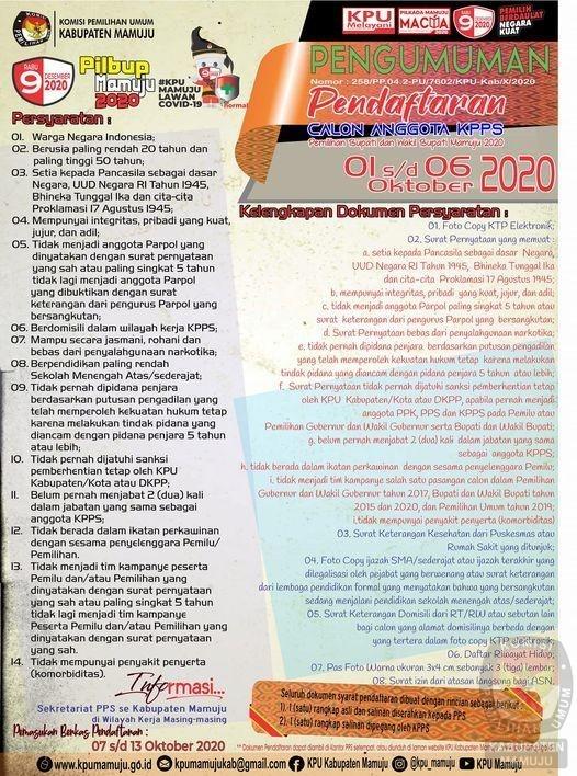 KPU Mamuju Buka Rekruitment KPPS, Butuhkan 6.633 Orang